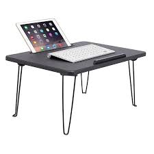 sofia sam lap tray with tablet slot metal folding legs lap