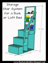 the elusive bobbin storage stair system for a bunk or loft bed
