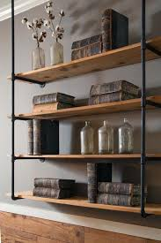 Living RoomRustic Hanging Wall Mount Wooden Shelves With Black Pipe And Stand