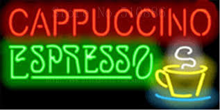 custom neon sign for cappuccino espresso real glass display