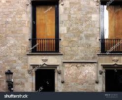 100 Travertine Facade Architectural S Barcelona Old Style Door Stock Photo