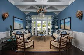 Nautical Blue Themed Living Room With White Wainscoting And Vaulted Ceiling