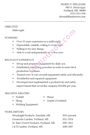 Resume Sample Millwright