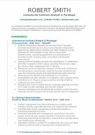 Commercial Contract Analyst Paralegal Resume Example