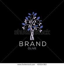 Olive tree vector logo design template