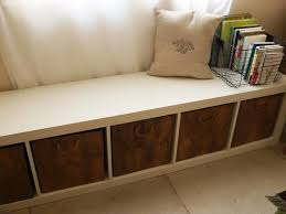real simple cube split top bench storage unit in image with