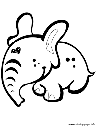 Cute Cartoon Baby Elephant Coloring Pages