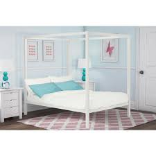 DHP Modern Canopy Metal Queen Size Bed Frame in White