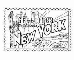 Free Printable US States History Coloring Sheets And New York State Stamp Pages