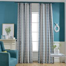 Contemporary Triangle Blue Geometric Window Curtains For Living Room Chic