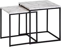 finebuy design beistelltisch 2er set marmor optik weiß