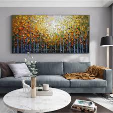 malerei landschaft leinwand moderne gemälde für wohnzimmer wand bilder baum malerei abstrakte ölgemälde auf leinwand handmade