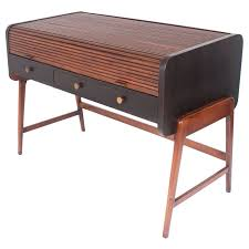Sligh Lowry Desk Leather Top by Mid Century Modern Tambour Roll Top Desk By Sligh Lowry Tambour