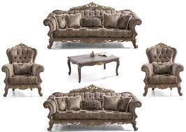 casa padrino luxus barock wohnzimmer set braun grau gold 2 sofas 2 sessel 1 couchtisch prunkvolle barock wohnzimmer möbel