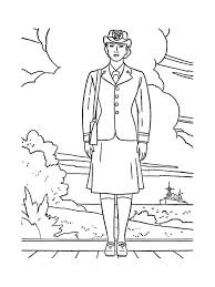 Print Female Officer In Navy Uniform Celebrating Veterans Day Coloring Page Full Size