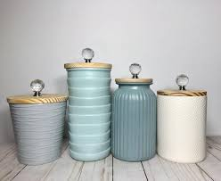 Ceramic Kitchen Canister Sets Scandinavian Boho Kitchen Canisters Textured Ceramic