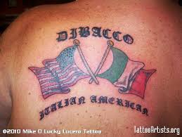 Italian American Flag Tattoo On Shoulder Photo 2