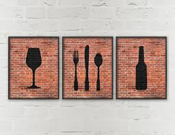 Large Wooden Fork And Spoon Wall Hanging by Kitchen Prints Beer Wine Fork Knife Spoon Art Dining Room