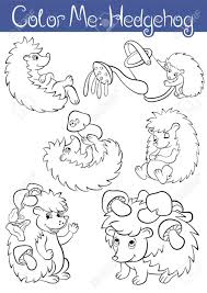 Coloring Pages Set Of Six Little Cute Hedehoges They Are Smile Wave