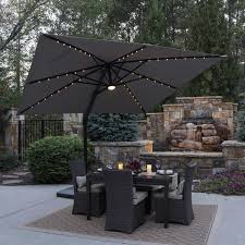 Sunbrella Patio Umbrella Replacement Canopy by 11 U0027 Led Solar Round Offset Umbrella By Seasons Sentry