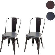 2x esszimmerstuhl mcw h10e küchenstuhl stuhl chesterfield metall kunstleder industrial gastronomie schwarz grau