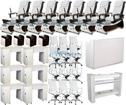 Gulfstream Plastics Pedicure Chairs by Nail Salon Package Deal