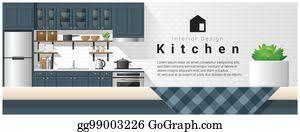 Interior Design Modern Kitchen Background 5 Stock Vektor Vector Interior Design Modern Kitchen Background