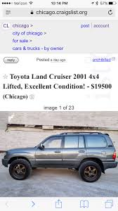 For Sale - Craigslist: '01 Land Cruiser (not Mine), 170k Mi ... Charming Used Cars For Sale From Owner Photos Classic Ideas Famous Craigslist Albany By Pictures Inspiration Yakima And Trucks By Ford Panama Port Arthur Texas Under 2000 7 Smart Places To Find Food Willys Ewillys Page 10 Fniture Marvelous Phoenix Az Best Dump Truck Toddler Bed Together With Unique For On In Va Mania