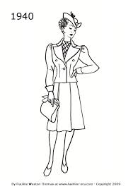 Fashion Silhouette Suit Drawing 1940