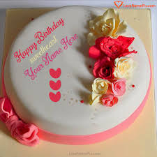 Plain Roses Birthday Cake For Lover With Name Happy Birthday Wishes