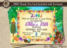 Hawaiian Birthday Party Invitations Luau Party Invitations Luau