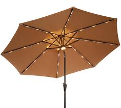 Tilt Patio Umbrella With Lights by Atleisure 9 U0027 Starlight Solar Market Umbrella With Cover Page 1