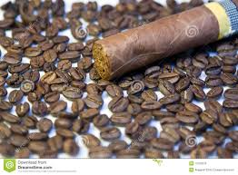 Cuban Cigar On Coffee Beans Stock Photo