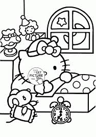 Large Size Of Coloring Pagessleep Pages Cute Baby Sleep Hello Kitty