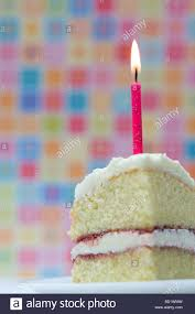 Slice of birthday cake with a lighted candle against a colourful pastel background