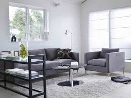 interior light grey shag rug with living room a set of grey sofa