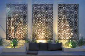 Outdoor Wall Art Complicated Pattern Out Door Three Panels Screen Natural Flower Concept