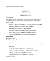 Secretarial Resume Template Secretary Templates