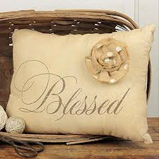 Honey Me Rustic Style Decorative Throw Pillow With Flower Accent Blessed