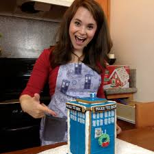 Nerdy Nummies Halloween Challenges by The Lovely Rosanna Pansino Modeling A Huckleberry Baby Dr Who