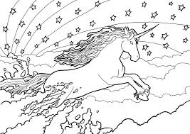 Unicorn And Rainbow Colouring Page