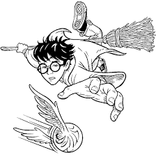 Coloring Harry Plays Quidditch With His Besom Broom Picture Print This Drawing For Your Kids