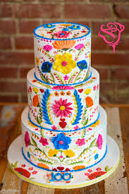 Mexican Embroidery Inspired Wedding Cake Hand Painted With Cocoa Butter