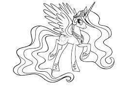My Little Pony Coloring Pages Princess Celestia In A Dress Of Ponies Horses Good Kids Friendship