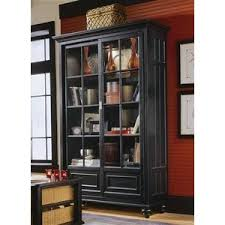 Wood Display Cabinet In Rustic Black W Two Sliding Glass Front Doors Tray Drawers