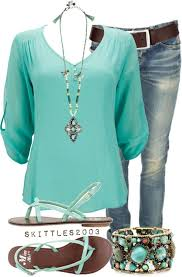Casual Comfortlove This Shade Of Turquoise Paired With Denim