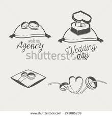 Set of logos for bridal salon agency Two wedding crossed rings on a pillow
