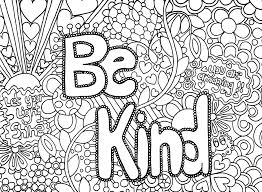Be Kind Adult Coloring Page