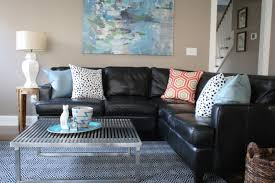 Brown Couch Decorating Ideas Living Room by Living Room Dark Brown Faux Leather Sofa Set With Beige Cushions