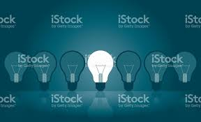 light bulbfocus contrastsindividuality winning stock vector